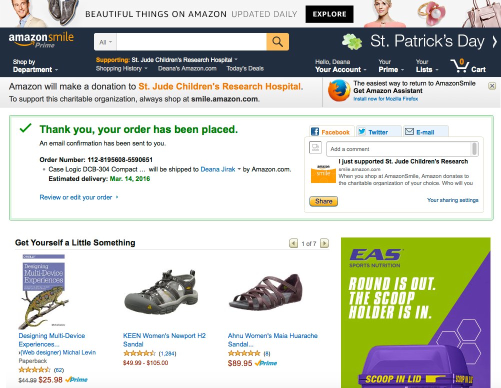 Showing the smile.amazon.com thank you page experience prior, featuring a very subtle banner featuring text that does not meet contrast ratio minimums across the top that differentiates it from the www.amazon.com version