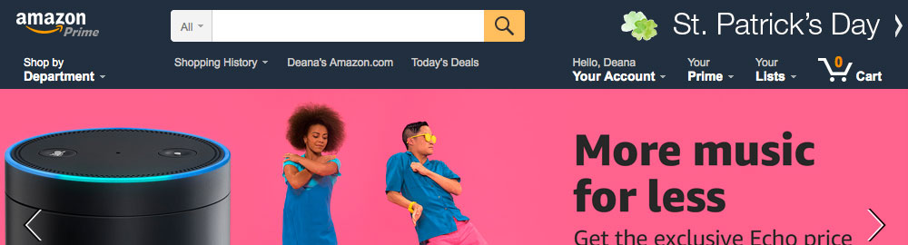 Showing what www.amazon.com looked like at the time for comparison
